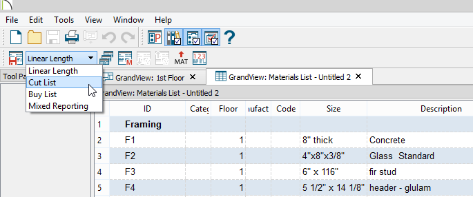 Drop Down list on toolbar showing Linear Length, Cut List, Buy List and Mixed Reporting options