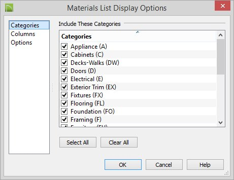 The Categories Panel Is Similar To Materials List Of Preferences Dialog Check Box Beside Each Category That You Would Like Include In