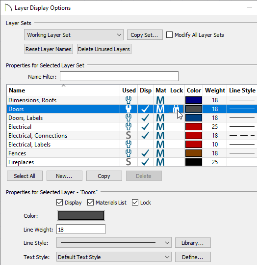 Locking the Doors layer in the Layer Display Options dialog