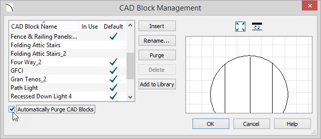 CAD Block Management showing Purge button and the Automatically Purge CAD Blocks option