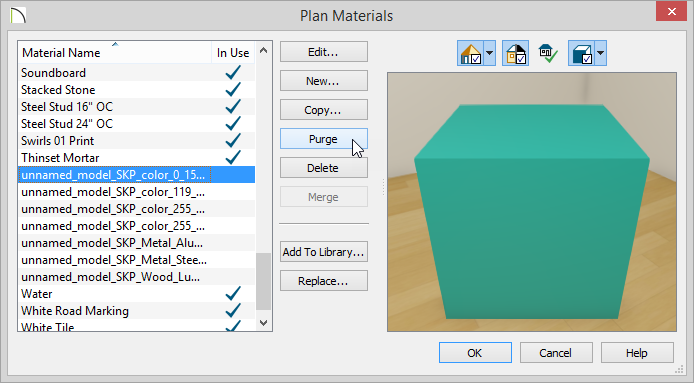 Plan Materials dialog showing Delete and Purge buttons
