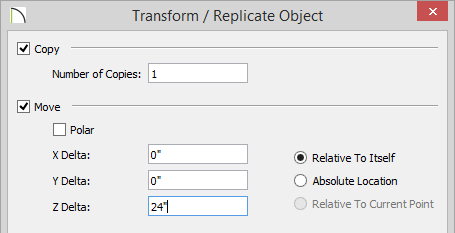"Transform Replicate Object dialog with Copy and Move checked and 1 entered for the number of copies and 24"" for the Z Delta"