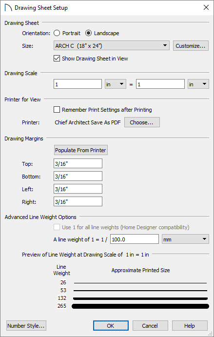 Setting the layout paper size and drawing scale in drawing sheet setup