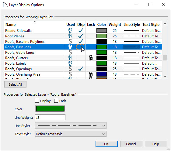 Turning off the display of Roof Baseline Polylines layer in Display Options