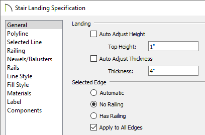 Adjusting the height values for the landing and turning off the railings