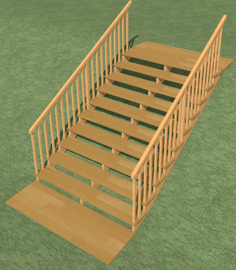 Stairs in a Sloping Terrain Perspective Camera View