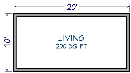 Floor plan view of 20' by 10' house showing 200 Sq. Ft. under room label