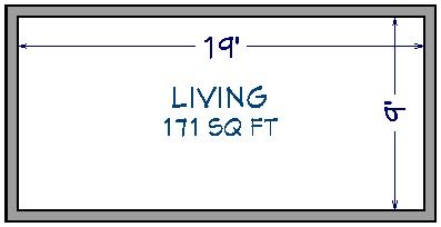Floor plan view of 20' by 10' house showing 171 Sq. Ft. under room label and interior dimensions of 19' by 9'