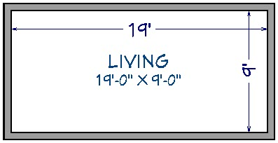 """Floor plan view of 20' by 10' house showing 19'-0"""" x 9'-0"""" under room label and interior dimensions of 19' by 9'"""