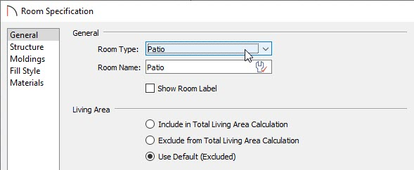 Selecting the Patio room type