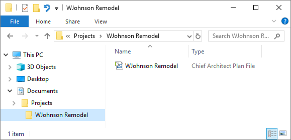Windows Explorer displaying the WJohnson Remodel plan file
