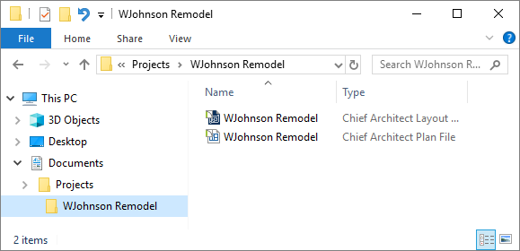 Windows Explorer displaying the WJohnson Remodel plan and layout file