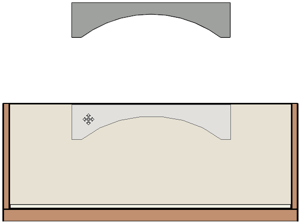 Moving the polyline solid into place in a Cross Section/Elevation view