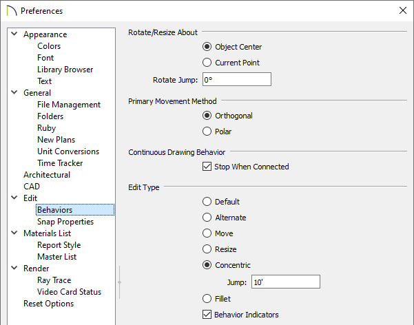 Behaviors panel of the Preferences dialog