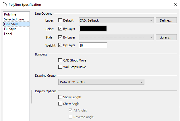 Line Style panel of the Polyline Specification dialog