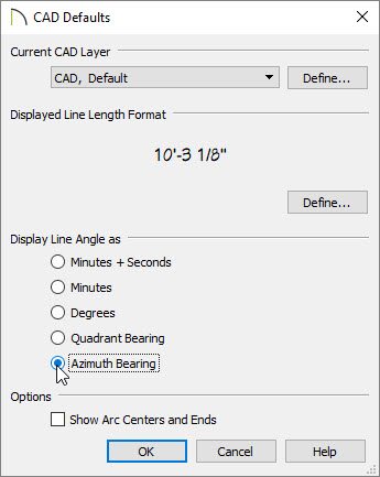 CAD Defaults dialog with Azimuth Bearing selected
