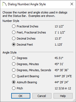 Dialog Number/Angle Style dialog