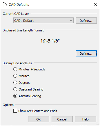 Azimuth Bearing selected in the CAD Defaults dialog