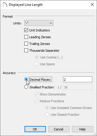 Decimal Places selected under Accuracy in the Displayed Line Length dialog