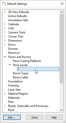 Default Settings dialog box with 1st floor selected under Floor Levels