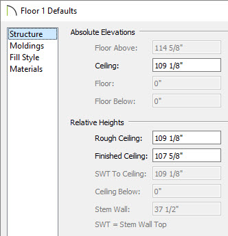 Changing Wall and Ceiling Heights