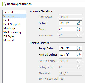 Room Specification dialog with Structure panel open