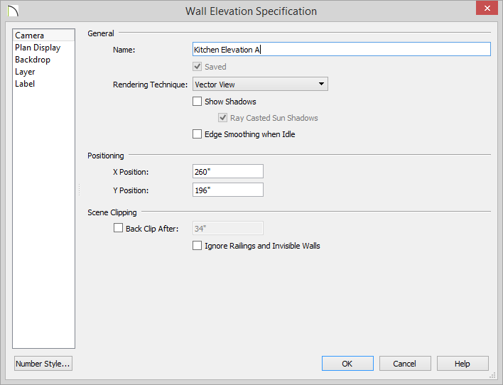 Wall Elevation Specification dialog with Name specified as Kitchen Elevation A