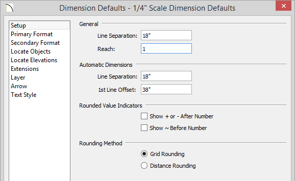 Changing Reach value to one in the Dimension Defaults