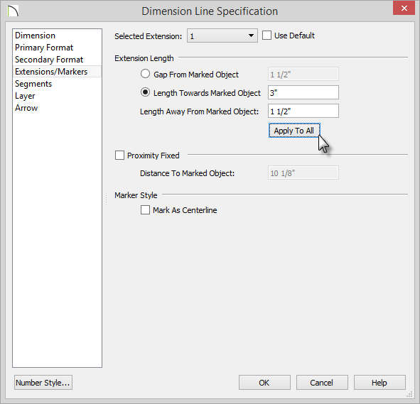 Dimension Line Specification dialog with 1.5 inch Length entered and Apply To All button selected