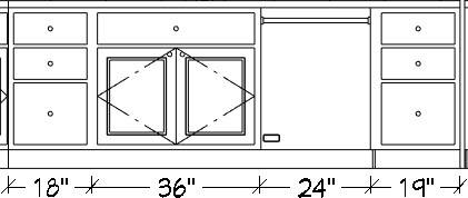 Wall Elevation with dimensions below the cabinets