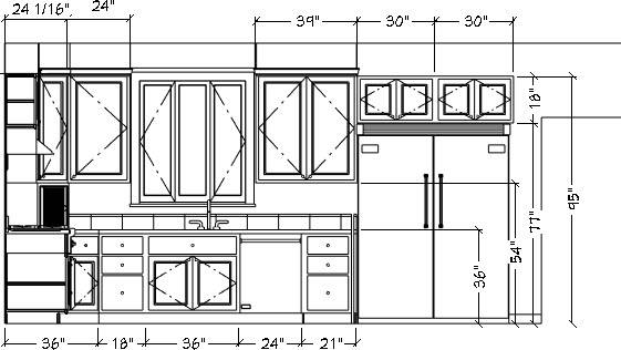 Wall Elevation view with horizontal and vertical dimension lines