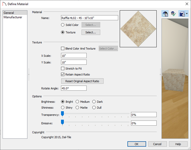 Make changes to this material in the Define Material dialog.