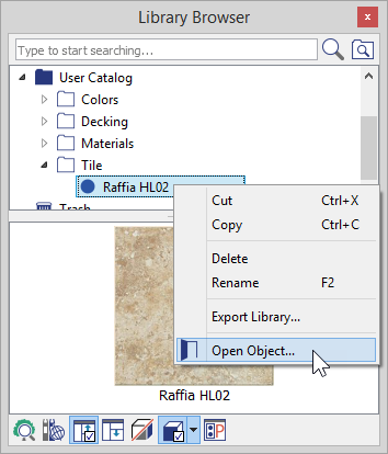 Library Browser with right-click menu showing Open Object option