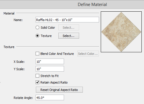 Define Material dialog showing new name, X Scale, Y Scale and Rotate Angle