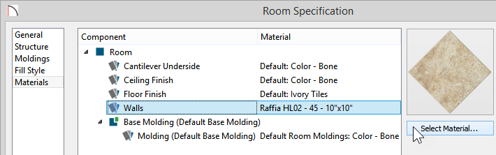 Room Specification dialog showing new material selected for Walls component