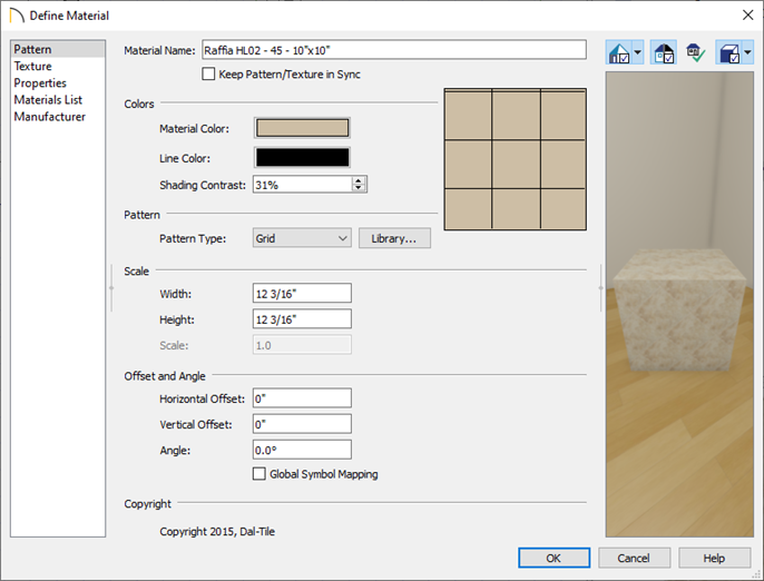 Pattern panel in the Define Material dialog