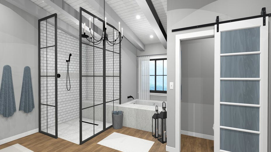 Bathroom with subway different tile materials