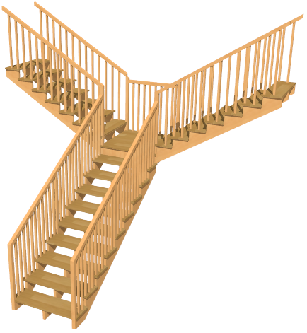 3D view, one stairway going up, landing splitting into two perpendicular stairways going up