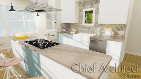 Render of a kitchen' interior with fixtures and appliances in the cabinets.
