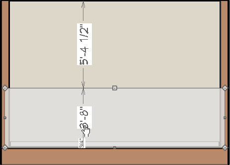 Editing a wall's height in elevation view.