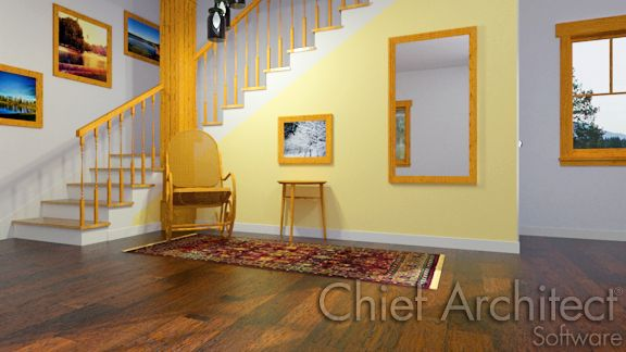 interior view of stairs with yellow accent wall