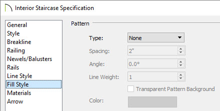 Adjusting the Fill Style type within the staircase specification dialog
