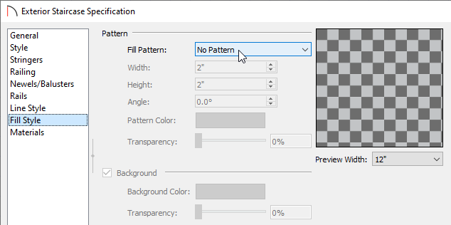 Fill Style panel of the Staircase Specification dialog