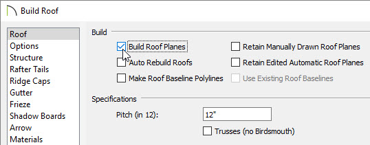Build roof planes for the structure