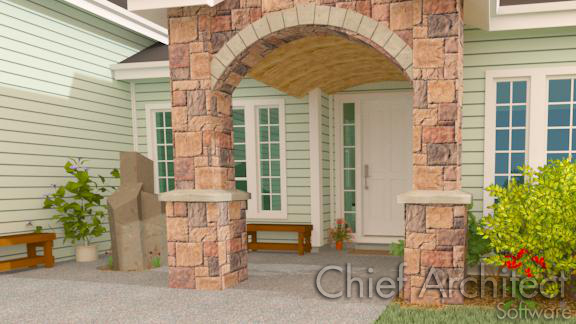 stone arch entry with curved barrel ceiling