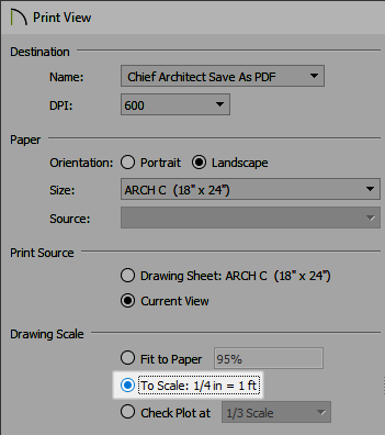 Selecting the To Scale option in the Print View dialog