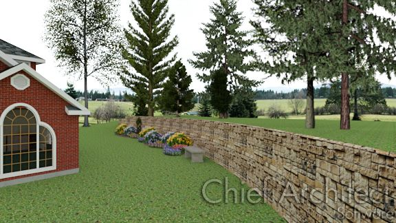 exterior view of stone retaining wall