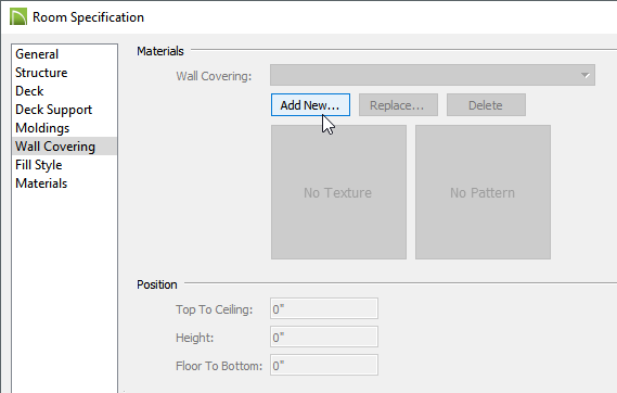 Wall Covering panel of the Room Specification dialog