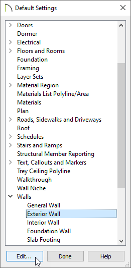 Selecting and editing Exterior Wall within Default Settings