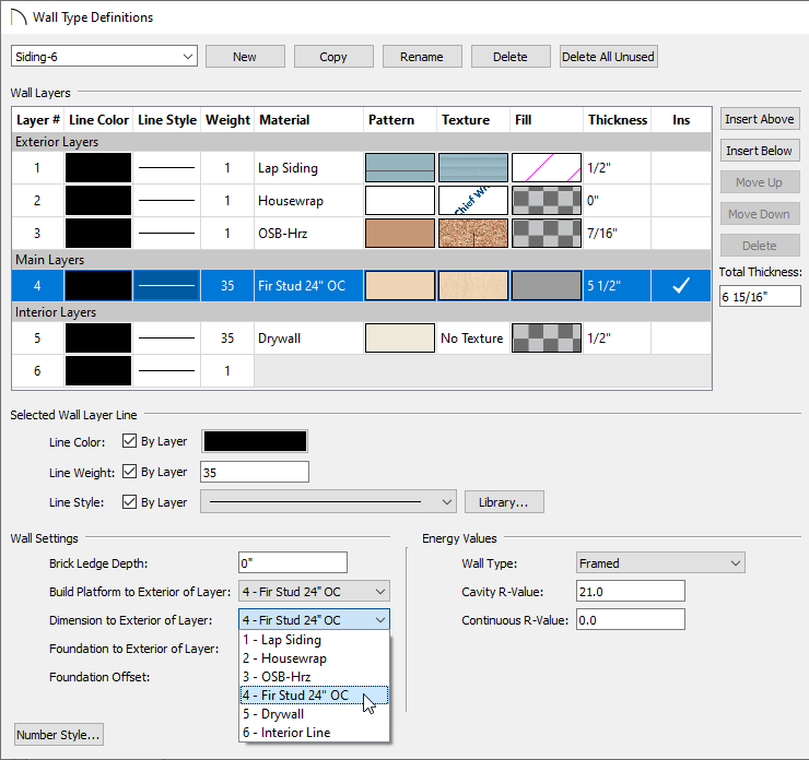 Changing the Dimension to Exterior of Layer dropdown in Wall Type Definitions